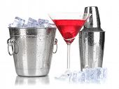 Metal ice bucket and shaker and cocktail isolated on white