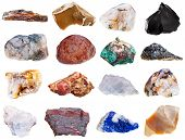 picture of minerals  - set of rock minerals isolated on white background - JPG