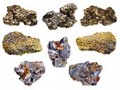 picture of iron pyrite  - set of pyrite and chalcopyrite minerals isolated on white background - JPG