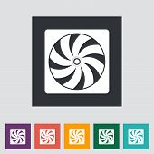 Radiator fan flat icon.