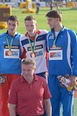 DONETSK, UKRAINE - JULY 12: Medal ceremony in Octathlon boys during 8th IAAF World Youth Championshi