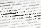 Close up of communication definition