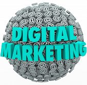 The words Digital Marketing on a ball or sphere of at or email symbols and signs to illustrate onlin