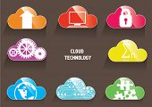 Cloud technology color icons