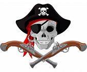 stock photo of crossed pistols  - Pirate Skull and crossed guns - JPG