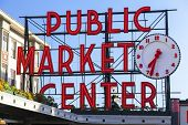 stock photo of washington skyline  - Seattle Public Market Center Sign - JPG