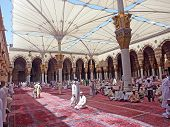 Muslims Get Ready To Pray Inside Nabawi Mosque