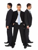 Three Young Businessmen Stand Semicircle