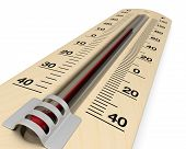 image of analogy  - close up view of an analog thermometer with scale on celsius and fahrenheit  - JPG