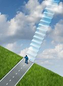 stock photo of step-up  - Success plan business concept with a businessman at the end of the road on the edge of a cliff using his vision and leadership skills to imagine the future successful path of opportunity as a staircase of going up to heaven - JPG