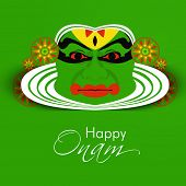 stock photo of pookolam  - South Indian festival Onam wishes background with Kathakali dancer - JPG