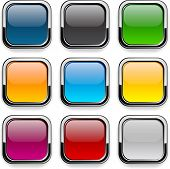 Set of blank colorful square buttons for website or app. Vector eps10.