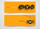Website spooky header or banner set with Halloween pumpkin and spider.