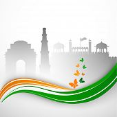 Indian Independence Day or Republic Day background with view of India Gate, Kutubminar and Red Fort.