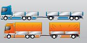 Truck With Two And Three Axle Trailers