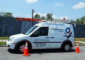 Optimum cable service truck in Brooklyn