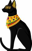 image of cat-tail  - Illustration of a black Egyptian cat isolated on white background - JPG