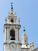 Detail of bell tower and dome of Estrela Basilica at Lisbon