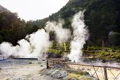 Hot springs and fumaroles at the edge of lagoa das Furnas