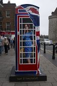 WINDSOR, UK - JULY 21: The Duchess of Cambridge depicted on Timmy Mallet's Ring a Royal Post Box. Art installation celebrating all things British, on July 21, 2013 in Windsor, UK.