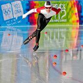 INNSBRUCK, AUSTRIA - JANUARY 18 Philip Due Schmidt (Denmark) places 14th in the men's 3000m speed skating event on January 18, 2012 in Innsbruck, Austria.