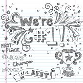 Sports Trophy Winner- We re Number One Back to School Sketchy Notebook Doodles- Illustration Design