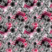 Doodle seamless flower ink pattern