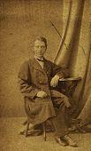 MOSCOW, RUSSIA, CIRCA 1897: Antique photo, portrait of a man in autumn coat, circa 1897