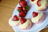 Bright Fresh Strawberry And Vanilla Cream Cupcakes