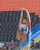 DONETSK, UKRAINE - JULY 11: Francesca Semeraro of Italy competes in pole vault during 8th IAAF World