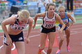 DONETSK, UKRAINE - JULY 11: Bridget O'Neill of Canada (center) and other girls start in 800 m during