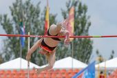 DONETSK, UKRAINE - JULY 11: Franziska Heiss of Germany competes in pole vault during 8th IAAF World