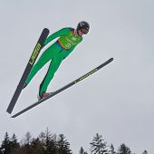 SEEFELD, AUSTRIA - JANUARY 19 Michal Pytel (Poland) jumps in Seefeld during a training session on Ja