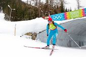 SEEFELD, AUSTRIA - JANUARY 19 Anastasiya Merkushyna of team Ukraine places 4th in the mixed biathlon