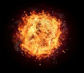 stock photo of infernos  - Fire ball with free space for text - JPG
