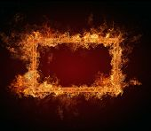Fire frame with free space for text. isolated on black background