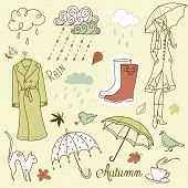stock photo of rainy weather  - Rainy autumn days doodles - JPG