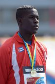 DONETSK, UKRAINE - JULY 14: World Yough Champion in triple jump Lazaro Martinez of Cuba on medal cer