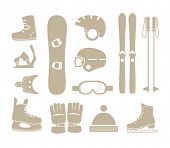 stock photo of ski boots  - winter sports equipment silhouettes collection - JPG