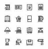 image of food processor  - Set of Simple icons related to kitchen - JPG