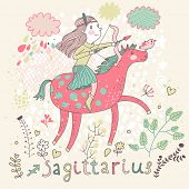 Cute zodiac sign - Sagittarius. Vector illustration. Little girl riding on pink horse and shooting a