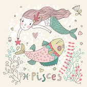 Cute zodiac sign - Pisces. Vector illustration. Little mermaid swimming with big fish with flowers a