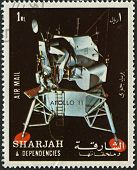 SHARJAH - CIRCA 1972:A stamp printed in Sharjah shows image of the Apollo 11 was the spaceflight tha