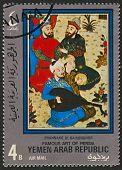 YEMEN ARAB REPUBLIC - CIRCA 1970: A stamp printed in YEMEN ARAB REPUBLIC shows image of the Famous Art Of Persia, circa 1970.