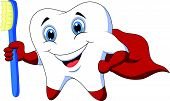 Cute cartoon superhero tooth with toothbrush