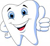 pic of tooth-fairy  - Vector illustration of Cute cartoon tooth with thumb up - JPG