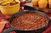 Chili Con Carne In A Cast Iron Skillet