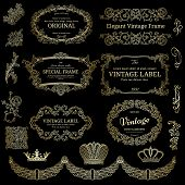 Set of golden design elements on black backgrounds