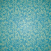 Yellow vintage seamless pattern on blue background
