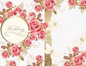 picture of married  - Wedding vector greeting card with pink roses in vintage style for design - JPG